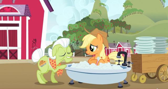 File:Applejack in a bath S3E8.png