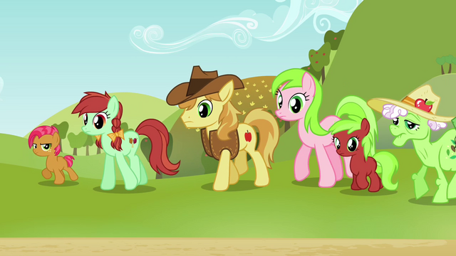 File:Babs and Apple family looking at Applejack S3E8.png