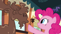 Pinkie Pie asking 'what's your name' to chocolate moose S2E24