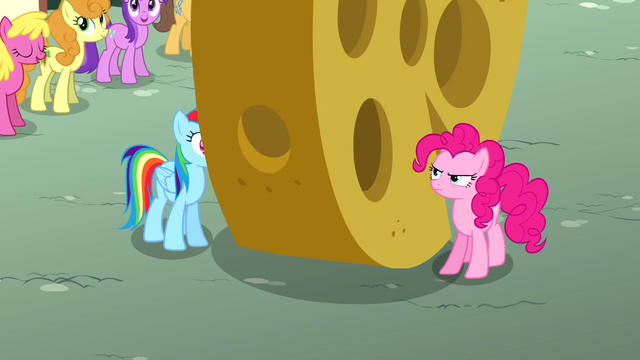 File:Large cheese rolling between Rainbow and Pinkie S4E12.png