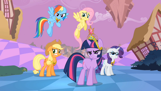 File:Main ponies Sans Pinkie Pie Reactions to Pinkie Pie S2E2.png