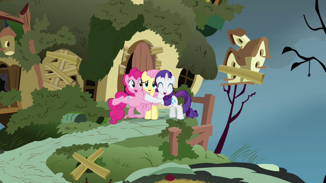 File:Pinkie Pie Rarity Fluttershy hugs S2E19.png