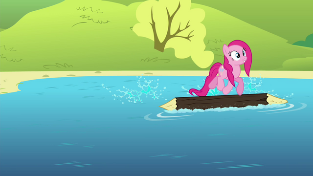 File:Pinkie Pie on a log floating on a lake S4E18.png