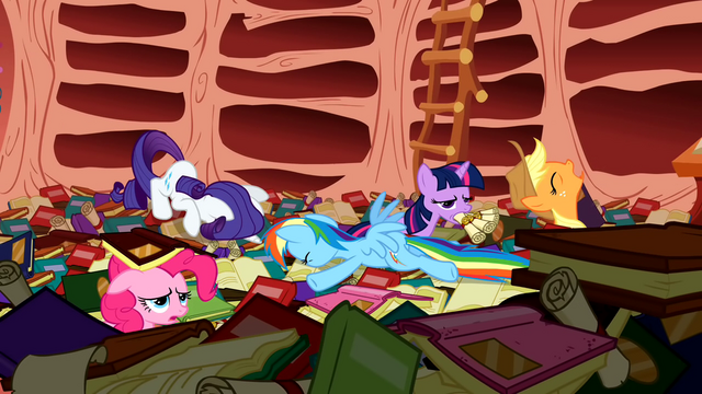 File:Rainbow crashing into Twilight's library S1E16.png
