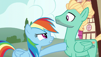 Rainbow poking Zephyr with her hoof S6E11