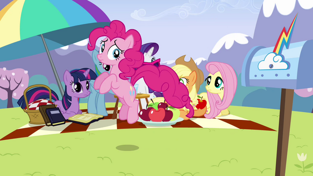 File:Other main ponies looking at Pinkie S3E7.png