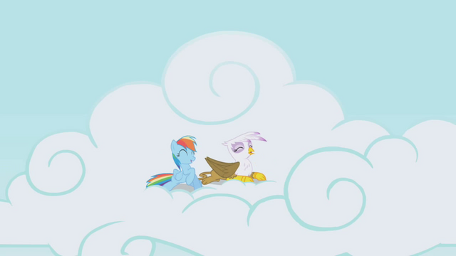 File:Rainbow Dash and Gilda having fun S1E5.png