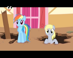 Derpy sticking her head out of a hole S2E14