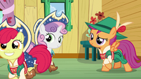 Sweetie Belle and Scootaloo see Apple Bloom going away S6E4