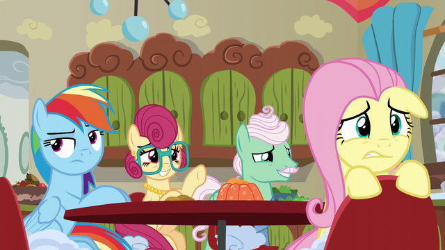 File:Rainbow Dash annoyed; Fluttershy worried S6E11.png