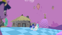 Celestia and Luna approaching Discord S4E02