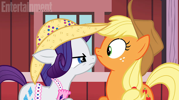 File:Rarity and Applejack looking at each other promotional S4E13.jpg