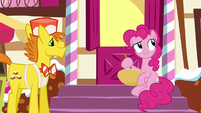 Pinkie stirring a bowl while talking S5E19