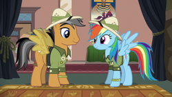 Quibble Pants and Rainbow Dash dressed as Daring Do S6E13.png