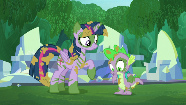 File:Twilight and Spike covered with salve S5E26.png