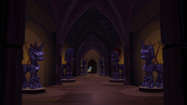 File:Applejack and Rainbow in hall of pony armor S4E03.png