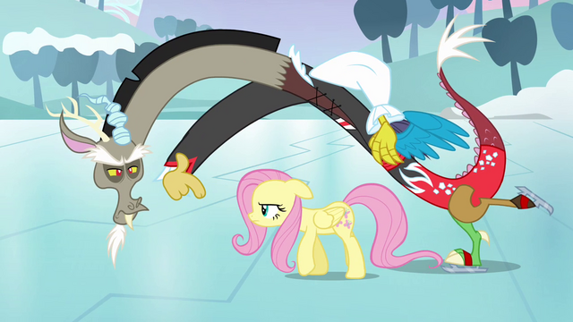 File:Discord rubs his victory in Fluttershy's face S03E10.png