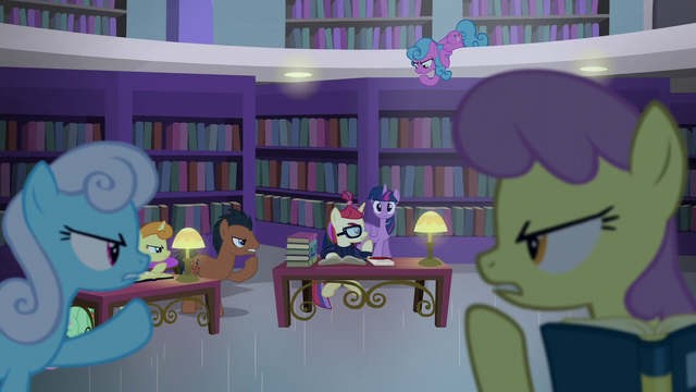 File:Library ponies shushing Twilight S5E12.png