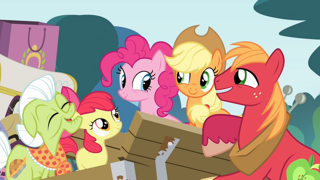 File:Pinkie Pie and the Apples together S4E09.png