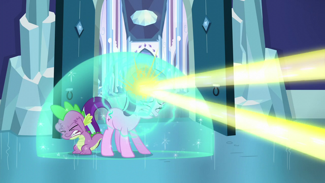 File:Starlight forms shield bubble around her and Spike to deflect magic beam S6E2.png