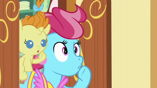 File:Mrs. Cake and Pumpkin Cake shushes Pinkie; Mrs. Cake backs up S5E19.png