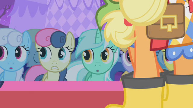 File:Ponies looking all shocked at Raritys redesigned dresses.png