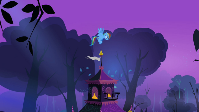 File:Rainbow on top of Rarity's tent S3E06.png