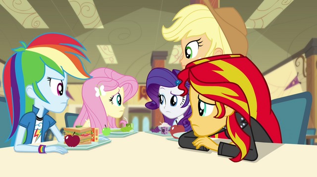 File:Fluttershy's friends look at her EG2.png