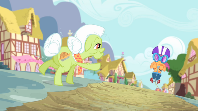 File:Granny Smith about to high-hoof Scootaloo S4E05.png