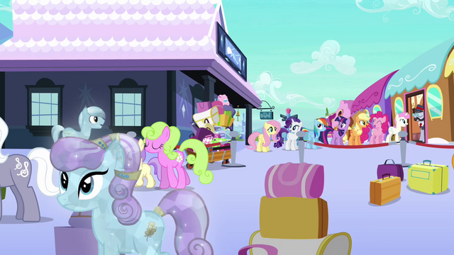 File:Mane 6 at the Empire train station S3E12.png