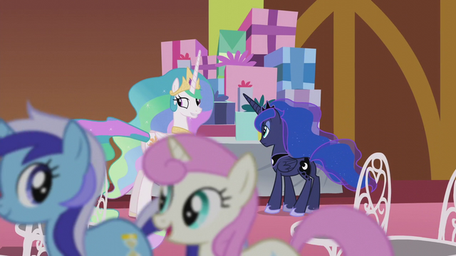 File:Celestia looking at ponies trotting past S5E9.png