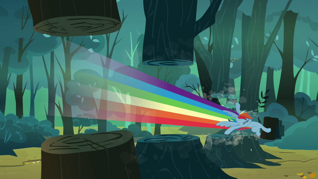 File:Rainbow Dash slicing through trees S3E6.png