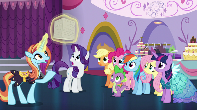 File:Sassy showing the orders for the Princess Dress gown to Rarity S5E14.png