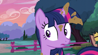 Twilight freezes at the mention of the castle S5E3