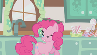 Pinkie Pie with a pan on her head S1E12.png