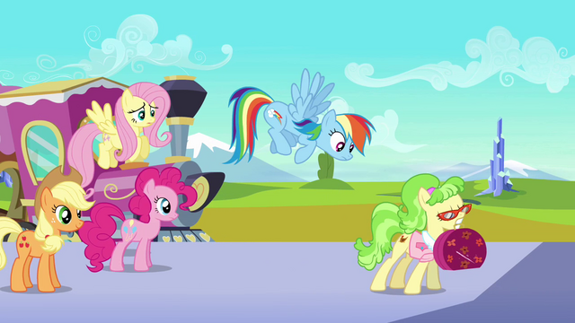 File:Rainbow Dash tries to get Ms. Peachbottom's attention S03E12.png