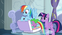 Rainbow about to pack Spike in her luggage S6E7