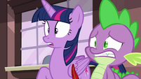 Twilight Sparkle and Spike in shock S6E22