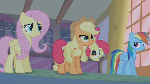 File:Applejack recounting how Apple Bloom saw Zecora entering Ponyville S1E09.png