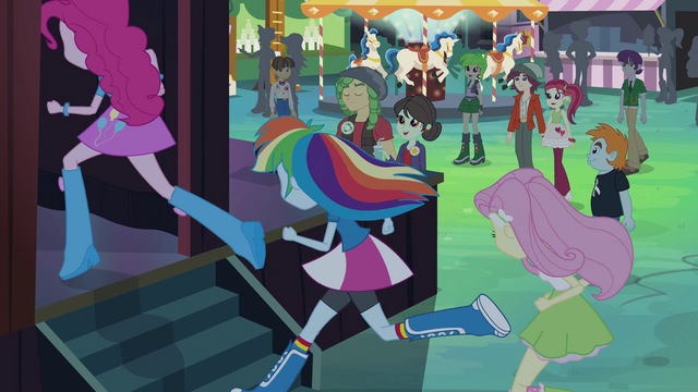 File:Pinkie, Rainbow, and Fluttershy run backstage EG2.png