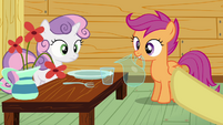 Sweetie Belle and Scootaloo at lunch table S3E04