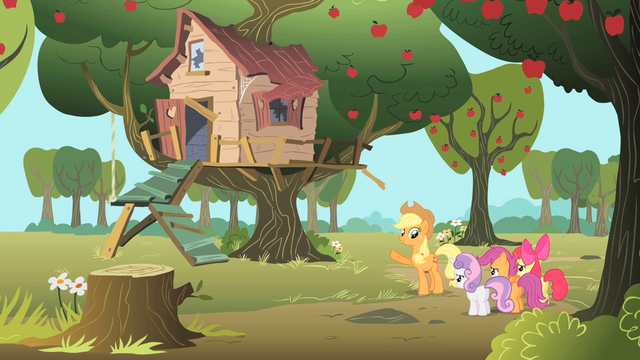 File:Applejack shows the CMC their new tree house S1E18.png