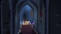 Twilight and friends walking through hallway S4E03