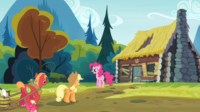 File:Pinkie Pie and the Apples in front of Goldie's house S4E09.png