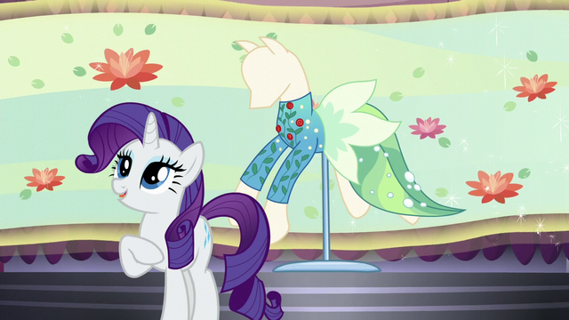 "File:Rarity introduces ""Water Filly"" dress S5E14.png"