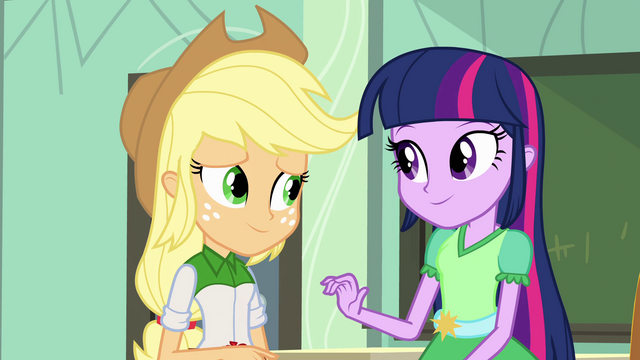 File:Twilight encourages Applejack EG.png