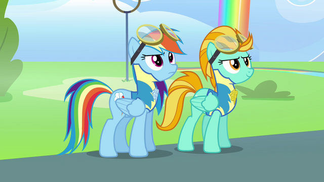 File:Rainbow and Lightning Dust ready for flag hunt S3E7.png