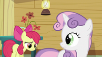 Sweetie Belle looking back at Apple Bloom S2E23