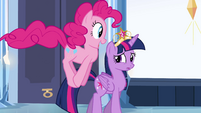 Pinkie Pie hopping next to Twilight EG