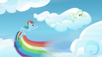 Rainbow Dash flying up to Vapor's cloud S6E24